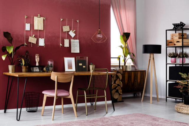 Home Office Color Schemes Deep Red