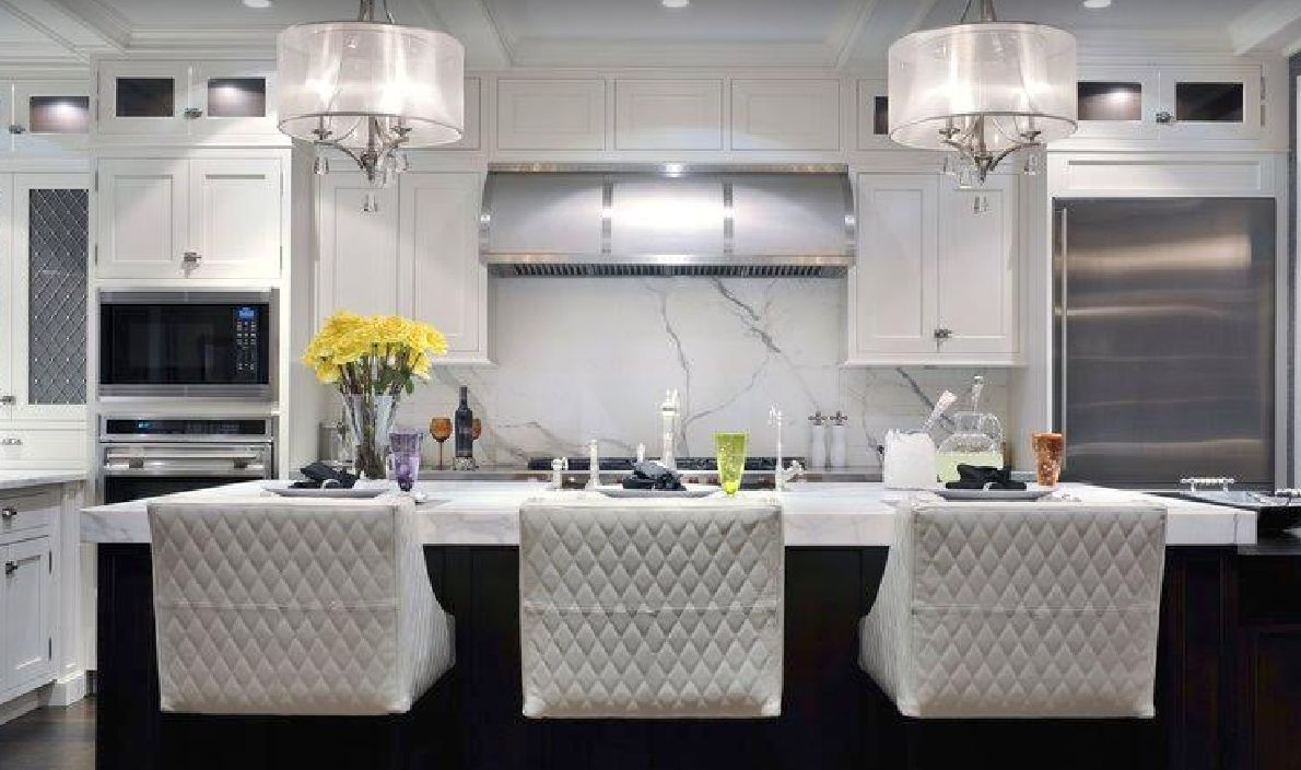 Updraft hoods are a staple of transitional kitchens.