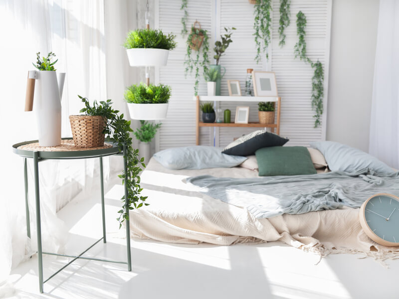 Boho bedroom with plants