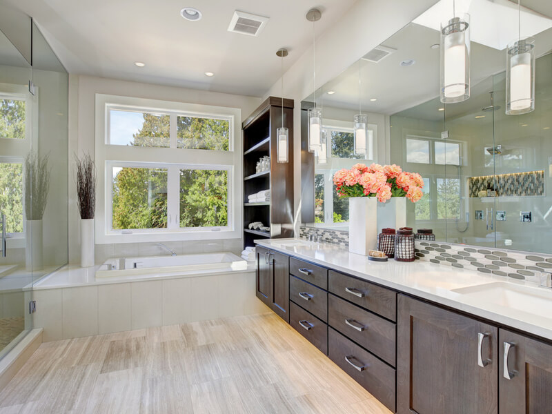 Natural light master bathroom