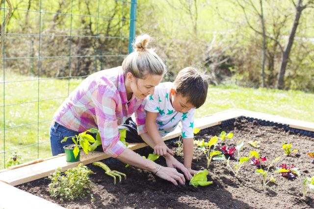 Woman and child gardening